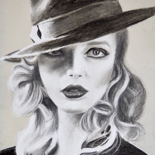 charcoal hat portrait